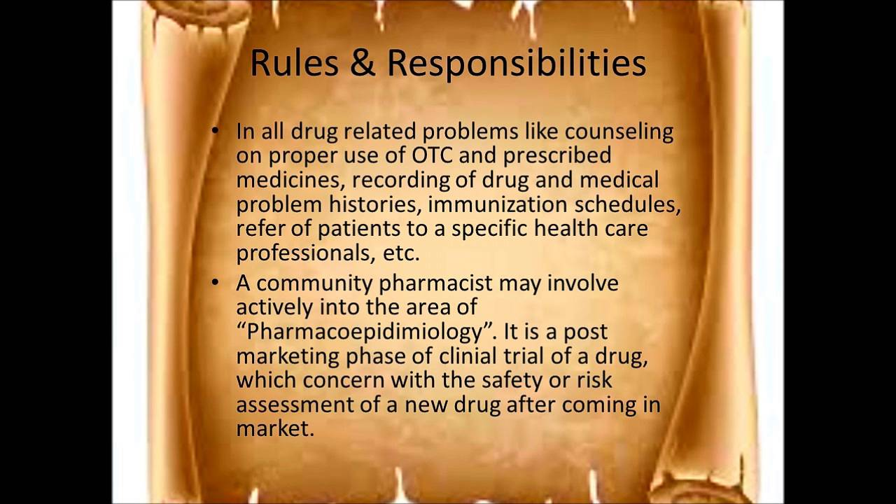 How to define Community pharmacy its scope Rules – Responsibility of a Pharmacist