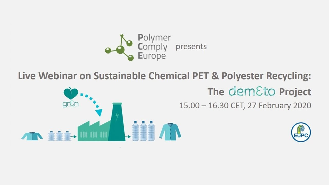 "Webinar on ""Sustainable Chemical PET & Polyester Recycling: The DEMETO Project"" available online"
