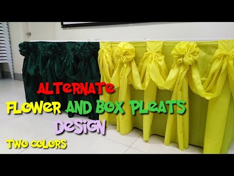 Table skirting alternate flower and box pleats design. #tutorial two colors. thumbnail