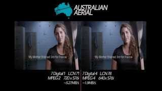 Channel 7: MPEG2/MPEG4 comparison (13.06.2015)(A comparison of MPEG-2 and MPEG-4 compression used on two Channel 7 services - 7 Digital 1 (LCN 71) and 7 Digital 4 (LCN 78). As you can tell, the two ..., 2015-06-13T12:17:11.000Z)