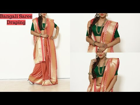 How To Wear Benarasi BANGALI Saree | Wedding Silk Sari Draping Video