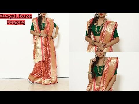 How To Wear Benarasi BANGALI Saree | Wedding Silk Sari Draping Video