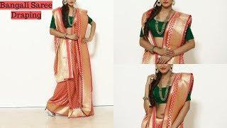 How To Wear Benarasi BANGALI Saree   Wedding Silk Sari Draping Video