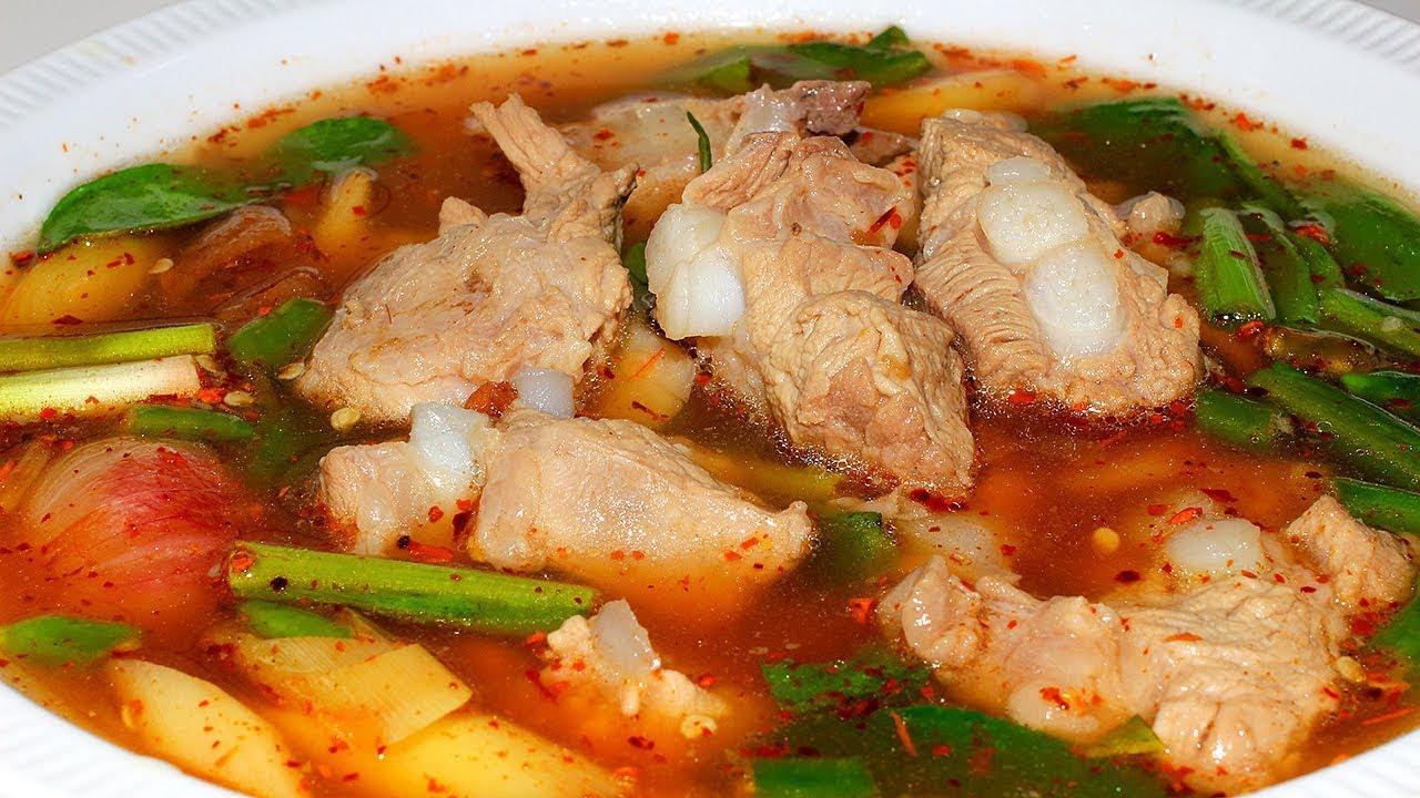 ต้มแซ่บกระดูกหมูอ่อน   Pork spare rib Spicy soup สอนทำอาหาร สูตรอาหาร ทำกินเองง่ายๆ   นายต้มโจ๊ก