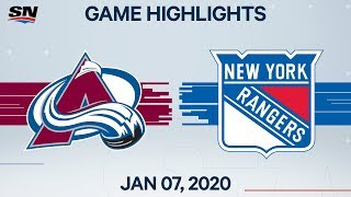 NHL Highlights | Avalanche vs Rangers - Jan. 7, 2020