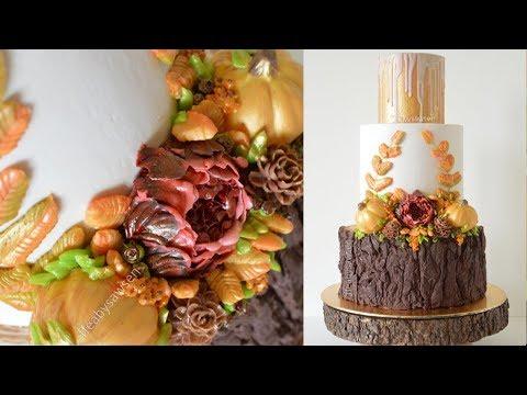 Autumn Buttercream Flower wreath Wedding cake decorating tutorial - with chocolate tree stump cake