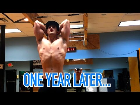 One Year Later...23 Year Old Natural Abercrombie & Fitch Model Hotel Workout and Flexing