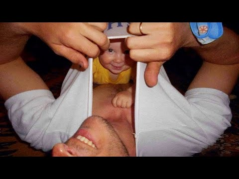 Funny Baby Playing With Daddy - JustSmile
