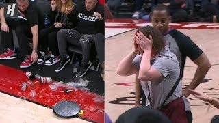 Referee Knocks Over a Tray of Drinks During Pelicans-Blazers Game   February 21, 2020