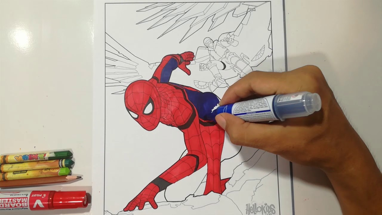 SPIDERMAN HOMECOMING Escaping From Bird Man Coloring Pages ...