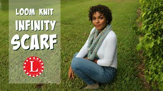 Loom Knit Infinity Scarf on Round Loom Mock Crochet Stitch - Easy Pattern for Beginners | Loomahat