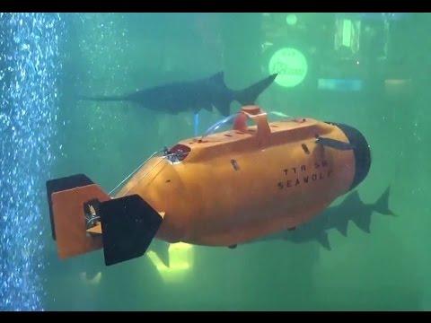 TTRobotix Seawolf Submarine at aquarium with GoPro action camera