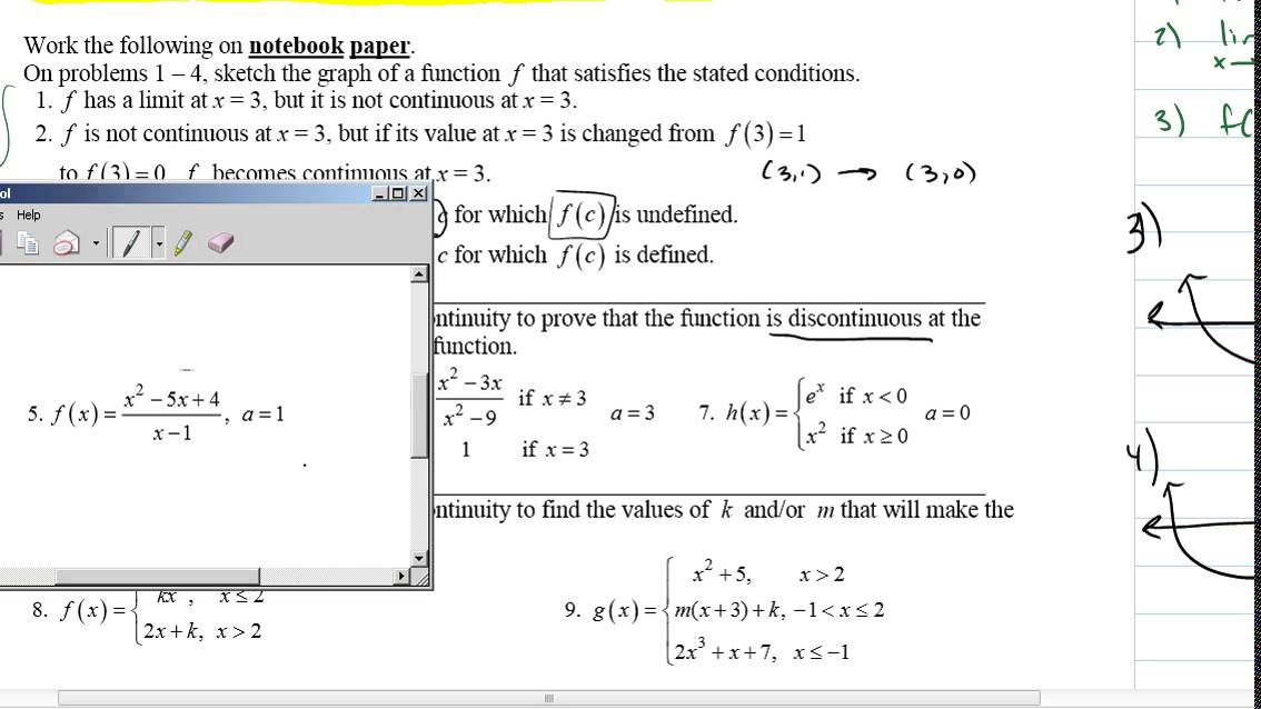 Worksheet on Continuity and Intermediate Value Theorem