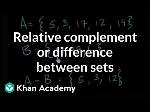 Relative complement or difference between sets | Probability and Statistics | Khan Academy