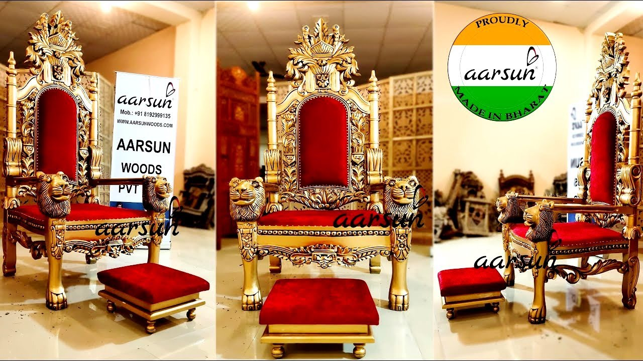 #275 Guruji Maharaj Ji Golden Chair Singhasan |  Majestic Chair in Teak@Aarsun - Art of India