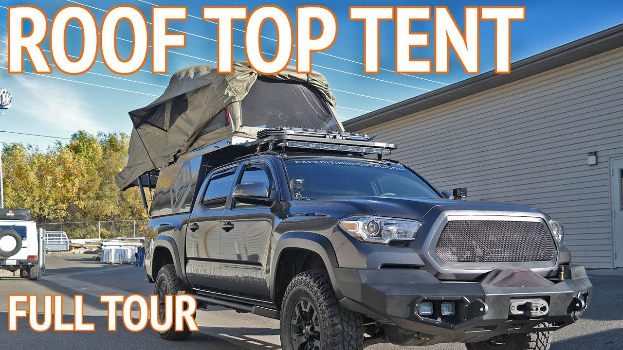 roof top tent on a tacoma at overland truck camper