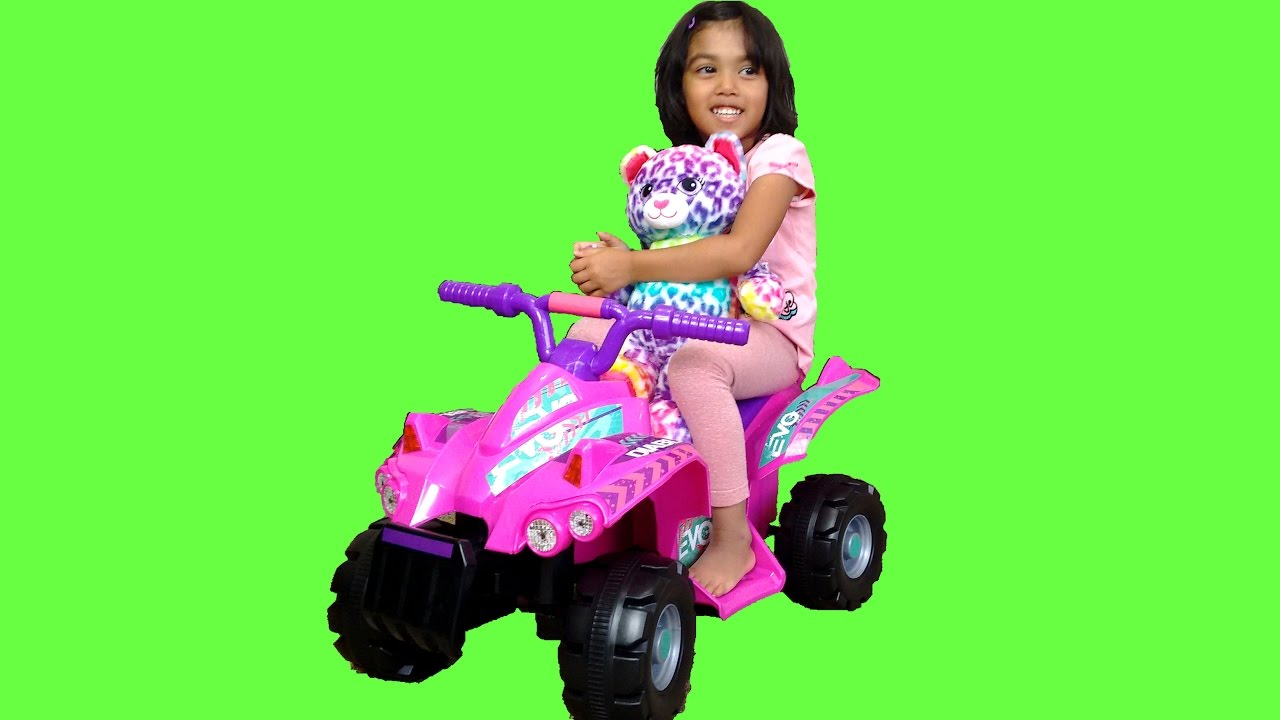 Pink Ride On Power Wheels Quad Bike Surprise Toy Unboxing