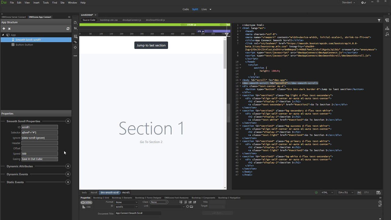 Applying Smooth Scroll Action to any HTML Element