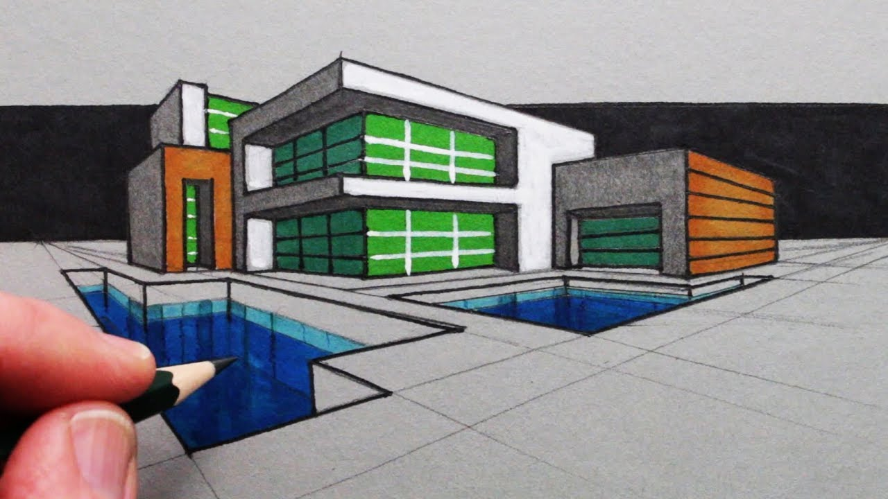 How To Draw A Modern House In Two Point Perspective Youtube Point Perspective House Drawing Perspective Drawing