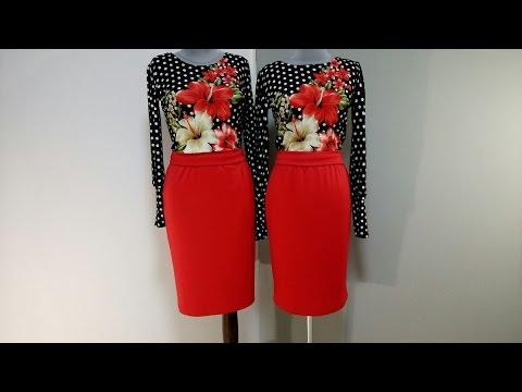 Черно-красное платье с красной юбкой,  черный верх горох и лилии