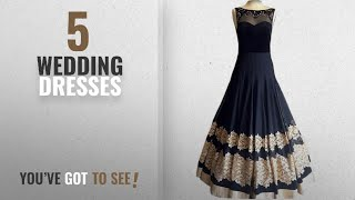 Top 10 Wedding Dresses [2018]: Royal Export Women's Gerorgette Black And Blue Party Wear Dress