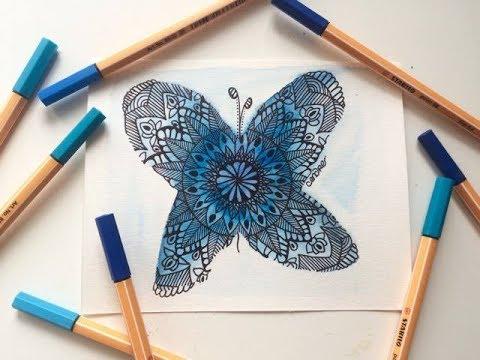 Papillon aquarelle et mandala - YouTube