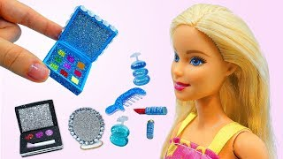 DIY BARBIE HACKS AND CRAFTS: Miniature Elsa Cosmetics ~ Eyeshadow palette, Bag and more!