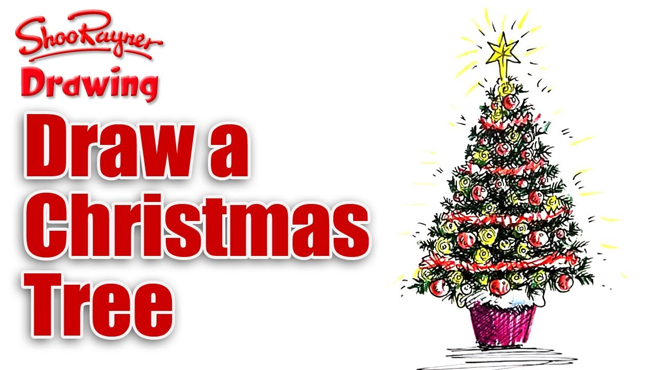 Christmas tree drawing - How To Draw And Color A Beautiful Christmas Tree Christmas Ideas Wonderhowto