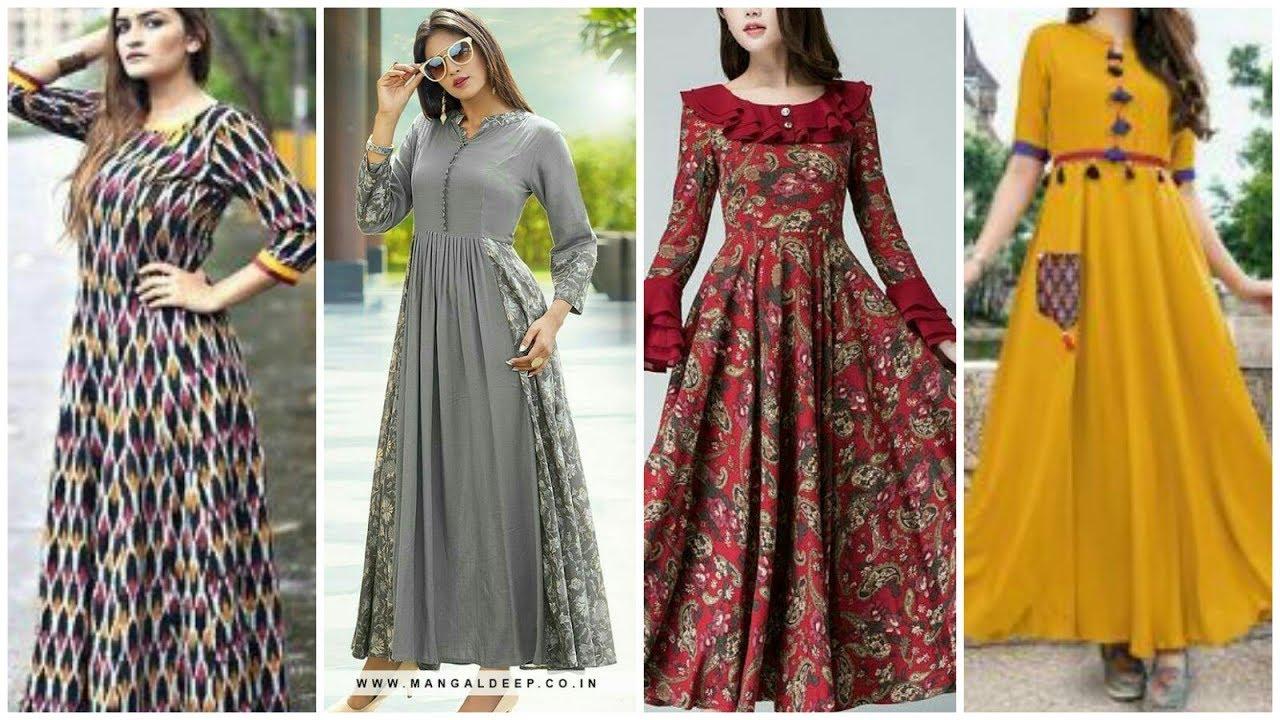 Trendi Cotton Long Maxi Dresses Long Frock Kurti Design Youtube