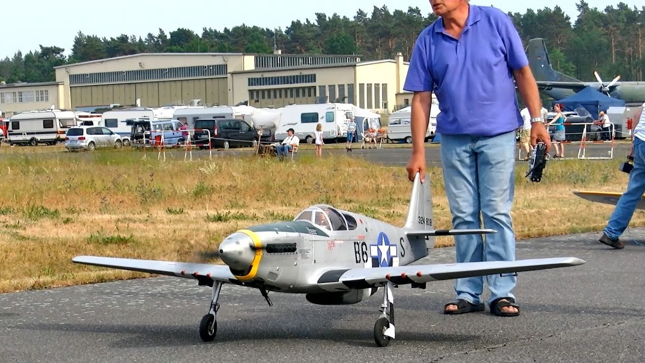 p-51 mustang big scale rc airplane oldtimer warbird model flight