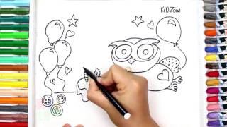 how to draw a Happy Birthday Cake step by step   Kid Zone Channel