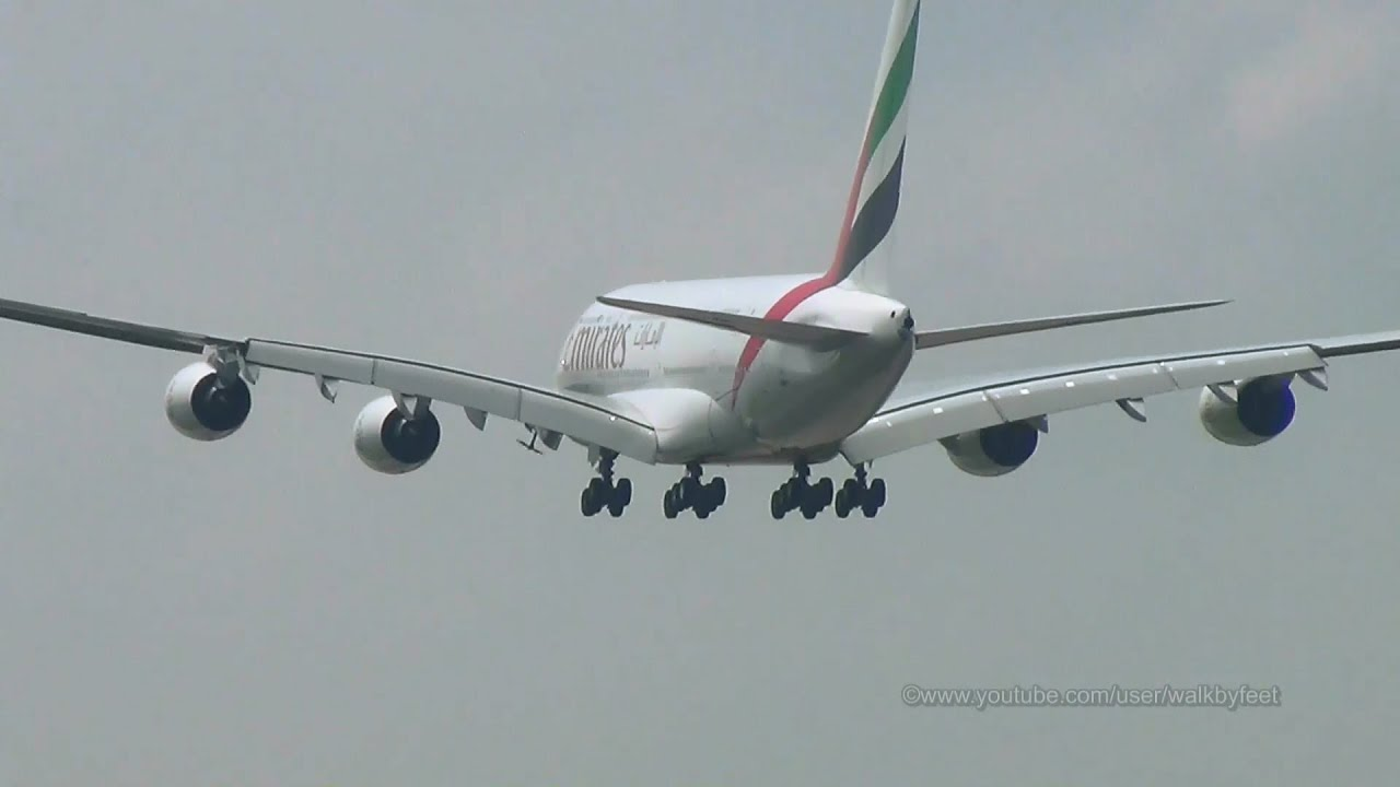Emirates A380 With Active Ram Air Turbine Landing At