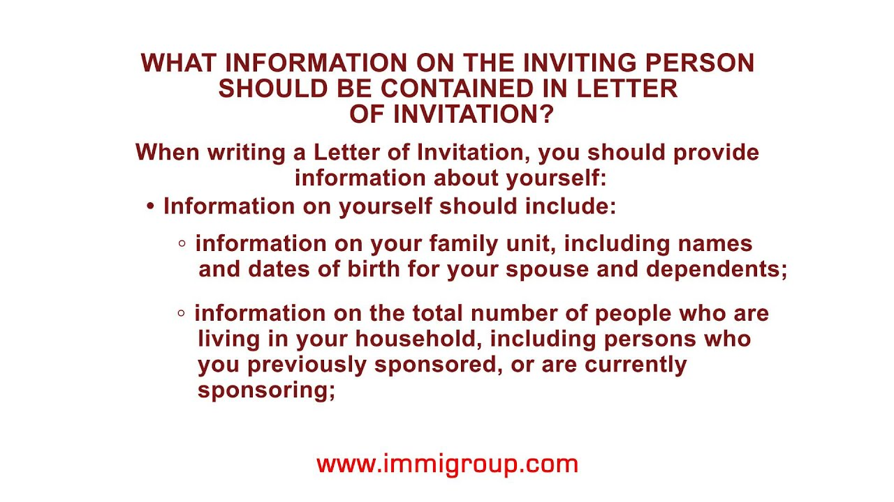 what information on the inviting person should be contained in letter of invitation youtube