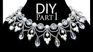 DIY: beading wedding necklace with pearls (part 1 of 2) / Свадебное колье из бисера и жемчуга