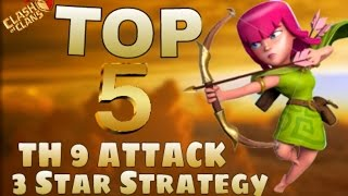 TOP 5 BEST TH9 Attack Strategy For WAR | 2016 | 3 Stars ATTACKs | Clash Of Clans