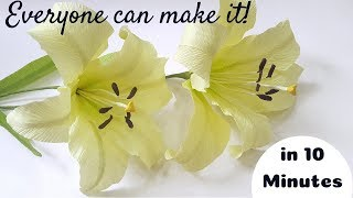 Paper Lily - How To Make Easy Paper Flowers Oriental Lily from crepe paper