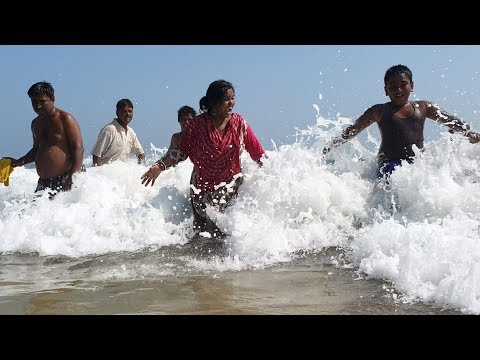 People are Enjoying Sea Bath at PURI Sea Beach, India in 4k ultra HD
