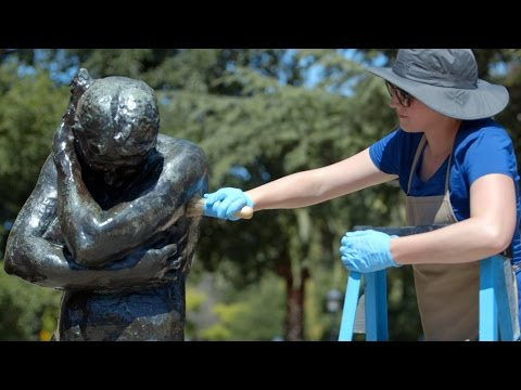 Stanford conservators work to preserve Rodin Sculpture Garden