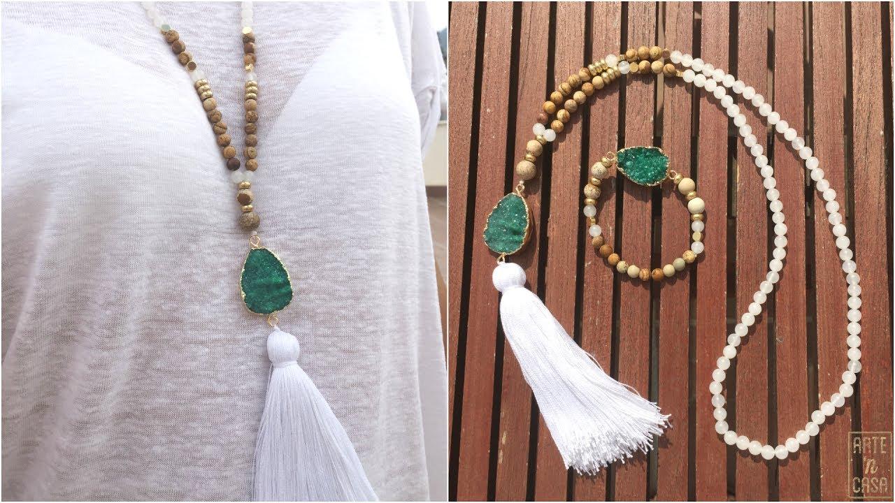 0c70afa021a1 Collar y pulsera de cuentas jade blanco y jaspe