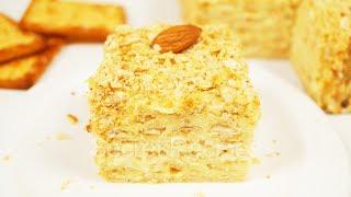 Торт Наполеон без выпечки. Вкуснейший торт из печенья с заварным кремом | Сake Napoleon
