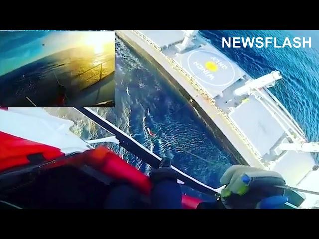 Moment Spanish Coast Guard Evacuate Injured Crew Member From Ship At Sea