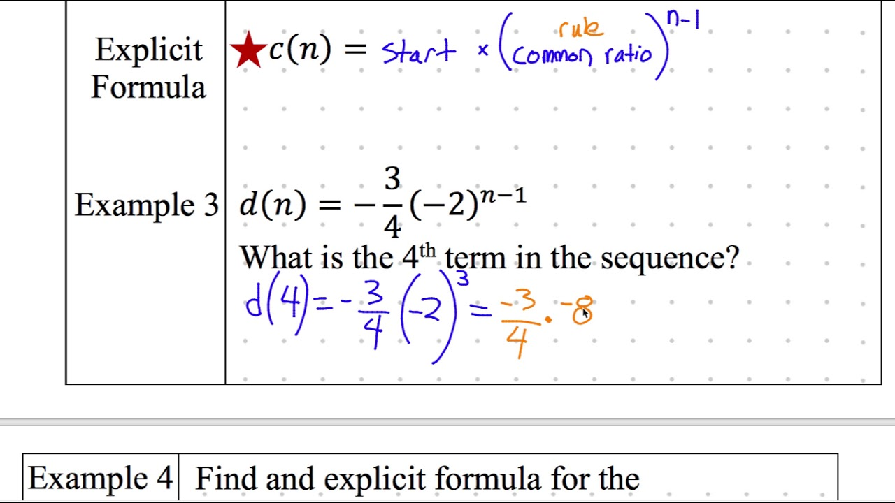Precalculus notes 7-5 Geometric Sequence Explicit Formula
