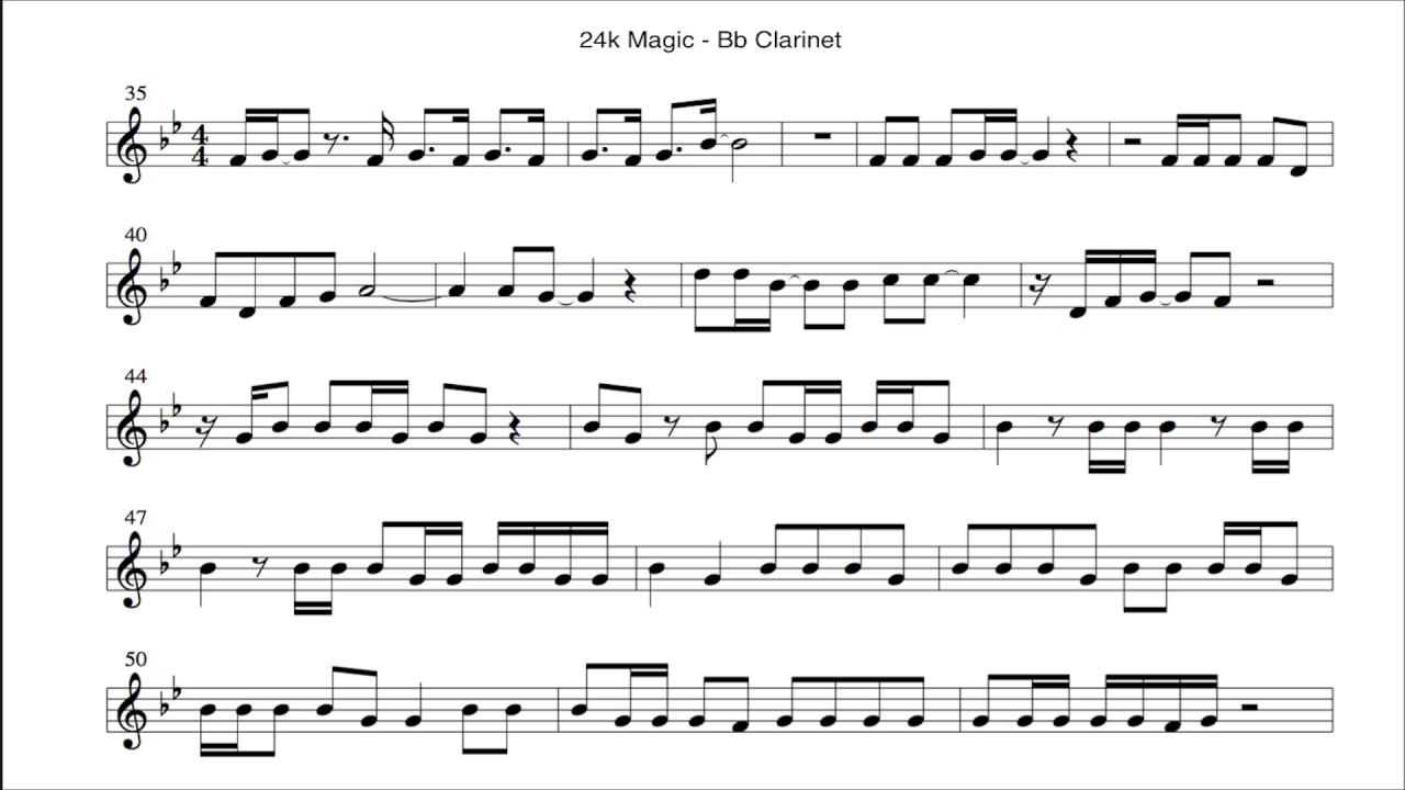 Bruno Mars 24k Magic Cover Bb Clarinet Notes Youtube