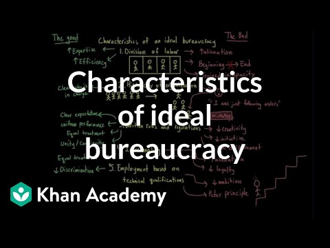 Characteristics of an ideal bureaucracy | MCAT | Khan Academy