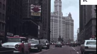 1960s Chicago, Skyscrapers, Streets, Color Footage