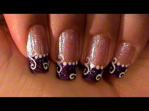 Purple Glitter French Manicure White Swirls Nail Art Design Tutorial Youtube