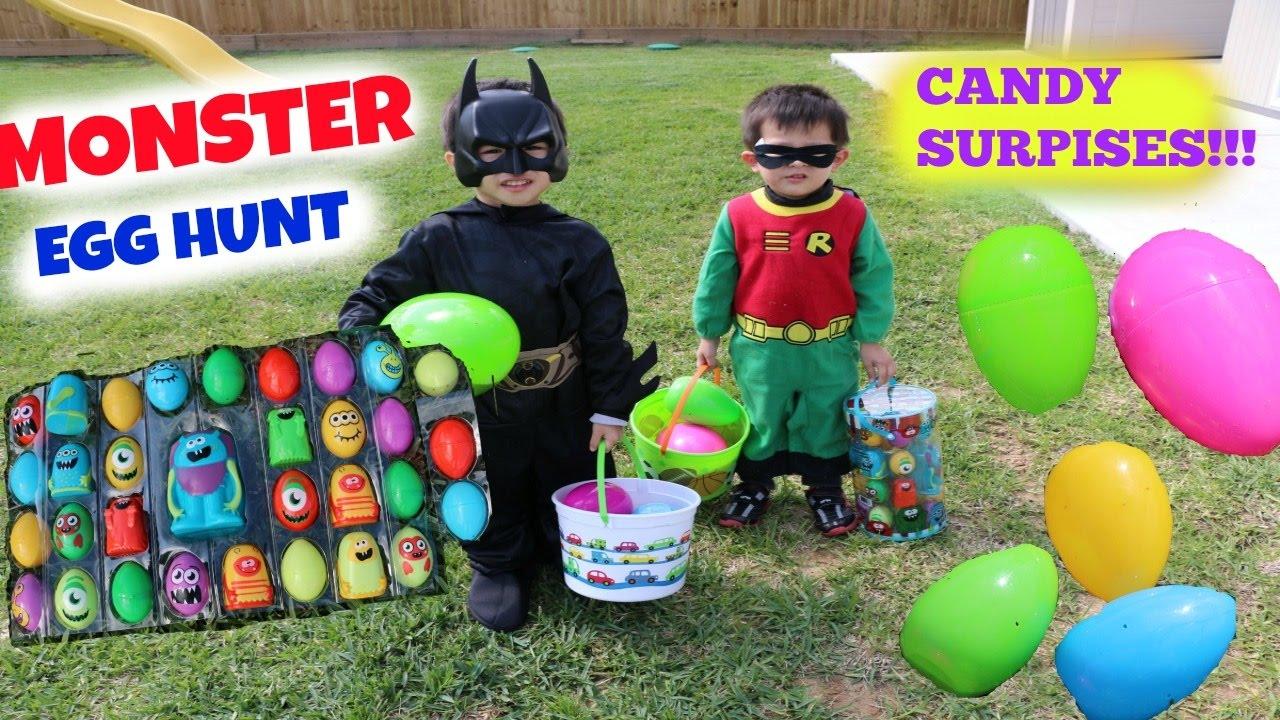 Giant Easter Egg Hunt For Monster Surprise Eggs Batman