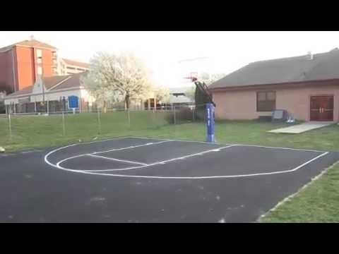 Backyard basketball court w painted lines youtube How much does a sport court cost