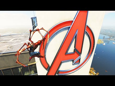 Spider-Man PS4 - Climbing & Jumping Avengers Tower In Iron Spider Suit