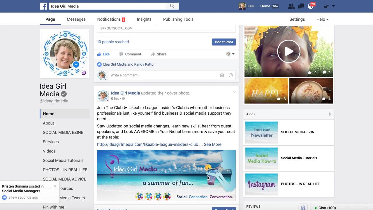 New Facebook Page Layout, August 2016